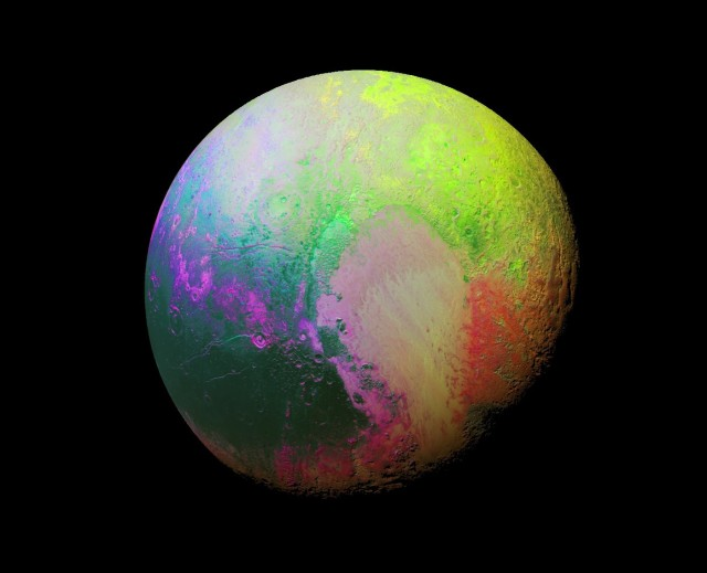 This enhanced color image of Pluto highlights the many subtle color differences between Pluto's distinct regions. The imagery was collected by the spacecraft's Ralph/MVIC color camera on July 14, 2015, from a range of 22,000 miles. (Credit: NASA / JHUAPL / SwRI)