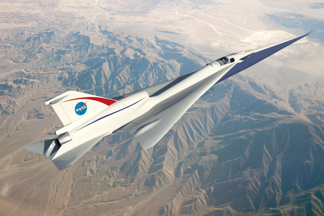 Artwork shows NASA's concept for Quiet Supersonic Technology, known as QueSST. (Credit: NASA)