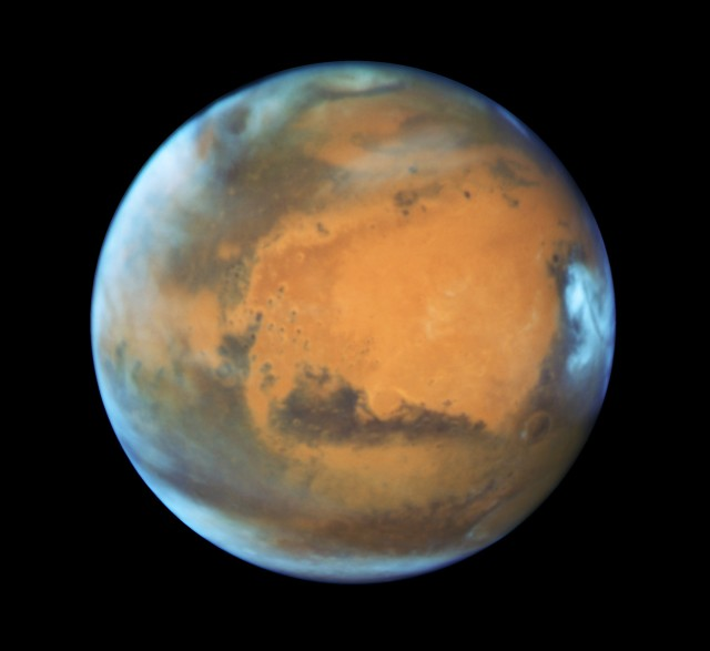 This image of Mars was captured on May 12 by the Hubble Space Telescope's Wide Field Camera 3 and UVIS. Click on the image for an annotated view. (Credit: NASA, / ESA / STScI / AURA / J. Bell / ASU / M. Wolff / STScI)