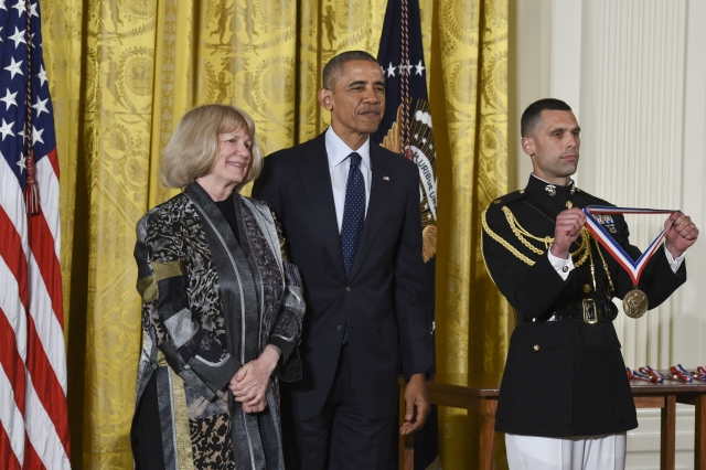 University of Washington geneticist Mary-Claire King gets set to receive her National Medal of Science from President Barack Obama at the White House on Thursday. (Credit: National Science and Technology Medals Foundation)