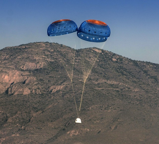 Image: New Shepard with parachutes