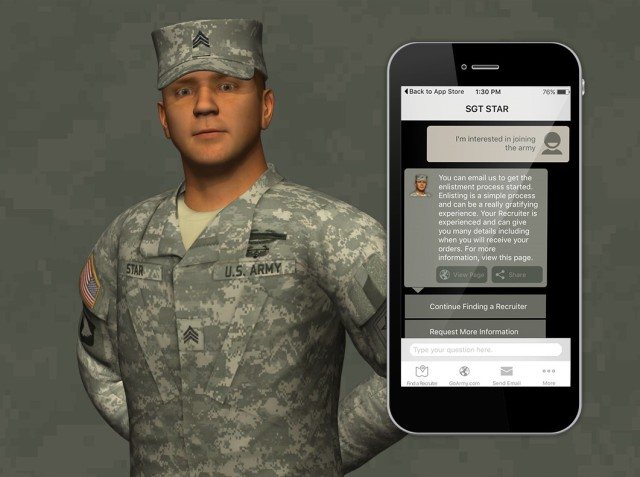 Sgt. Star, the virtual assistant that Next IT created for Army.com, can answer questions via smartphones. (Credit: Next IT)