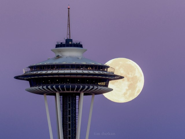 Seattle photographer Tim Durkan captured this view of the full moon behind the Space Needle. (Credit: TimDurkan.com)