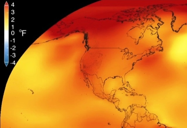 A NASA graphic shows how much hotter temperatures were in the 2012-2016 time frame, compared with the 20th-century average. (NASA Graphic)