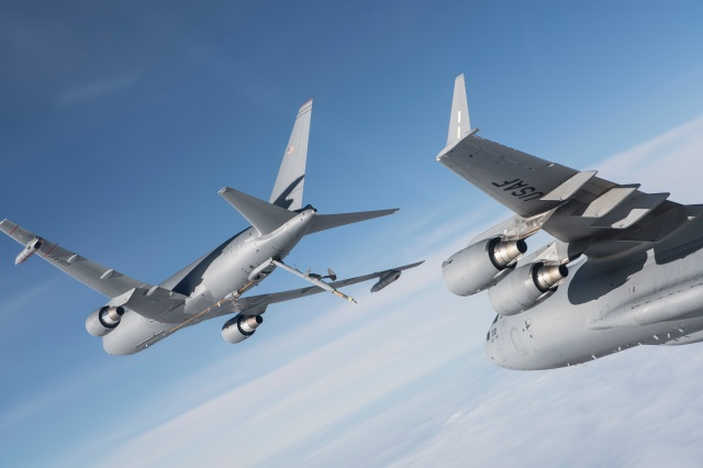 The KC-46A is a multirole tanker that can refuel allied and coalition military aircraft and also carry passengers, cargo and patients. (Boeing photo)