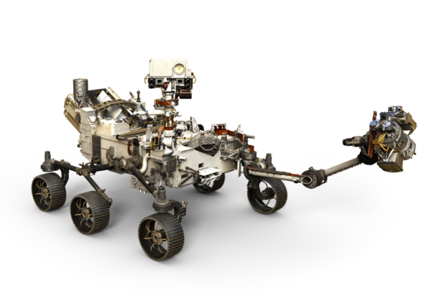 An artist's conception shows the 2020 Mars rover with its robotic arm extended. (NASA / JPL Graphic)