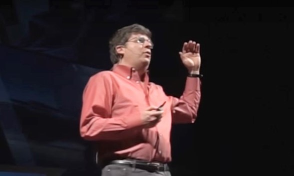 Oren Etzioni, the CEO of the Allen Institute for Artificial Intelligence, asks the audience at a TEDx talk to raise their hands if they think AI is evil. (TEDx Seattle via YouTube)