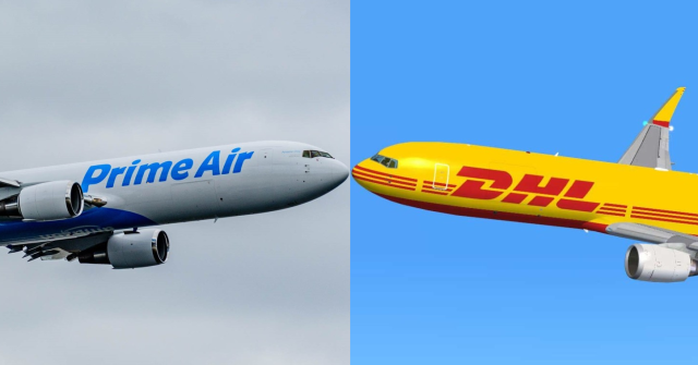 Amazon and DHL jets