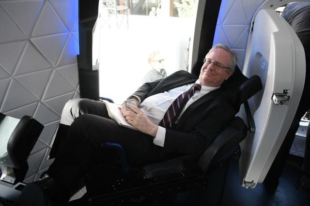 Alan Boyle in Blue Origin capsule