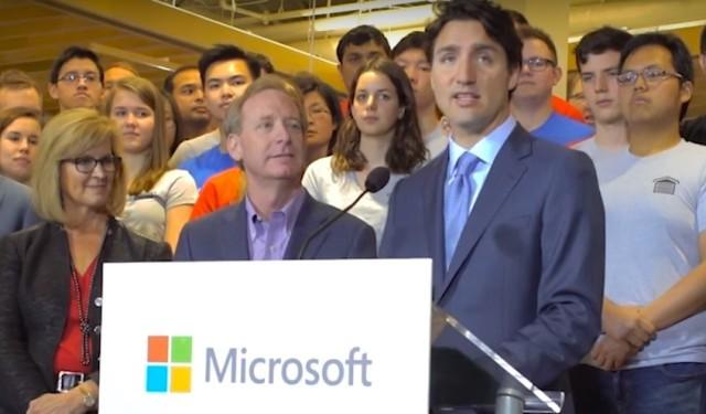 Justin Trudeau at Microsoft Canada
