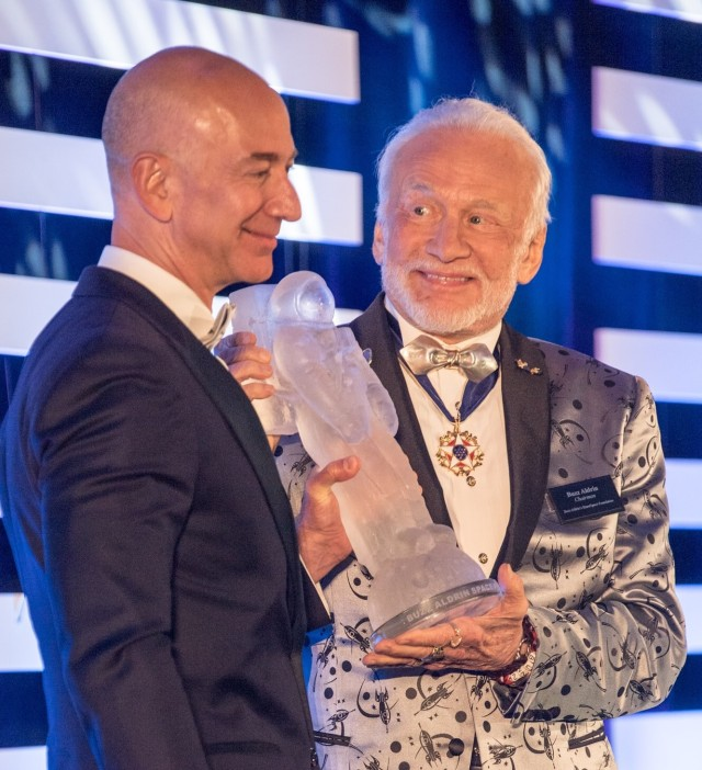 Jeff Bezos and Buzz Aldrin