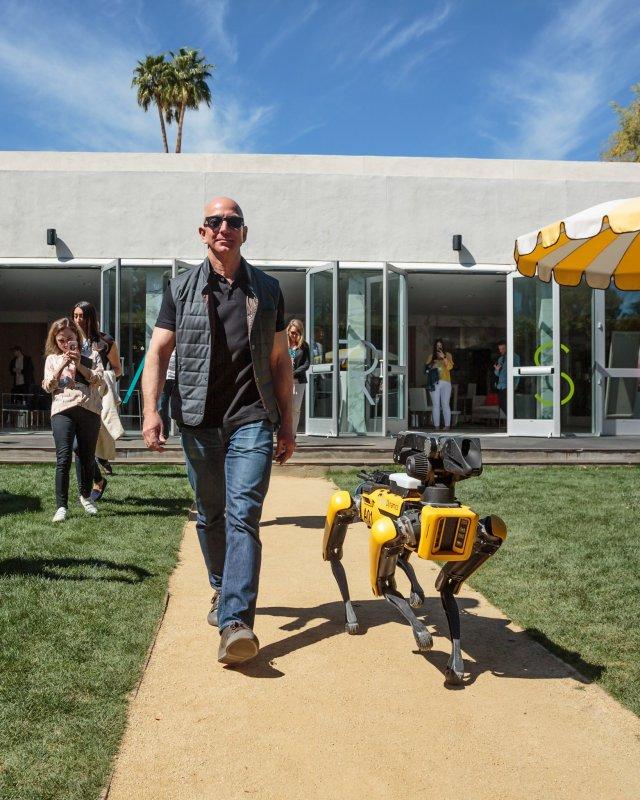 Jeff Bezos and robot dog