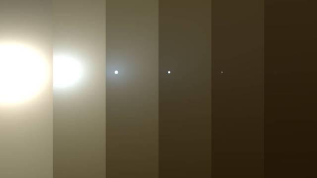 Simulated sun on Mars