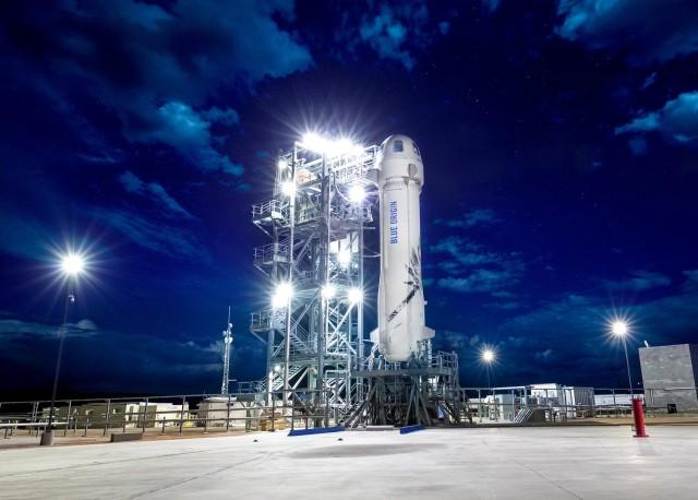 Blue Origin spaceship on pad