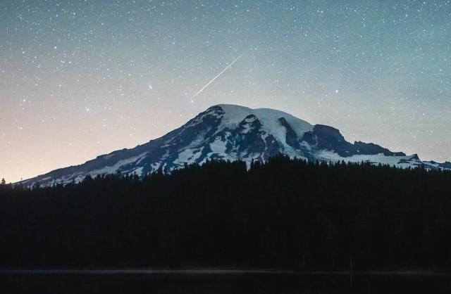 Perseid over Mount Rainier