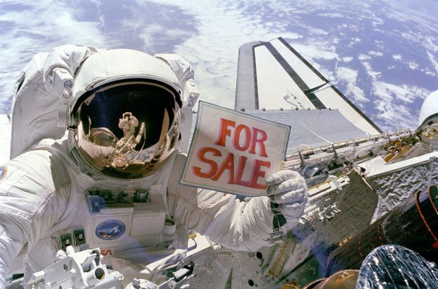 """""""For Sale"""" sign in space"""