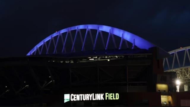 CenturyLink Field in blue