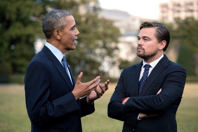 Barack Obama and Leonardo DiCaprio