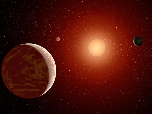 Red dwarf and planets