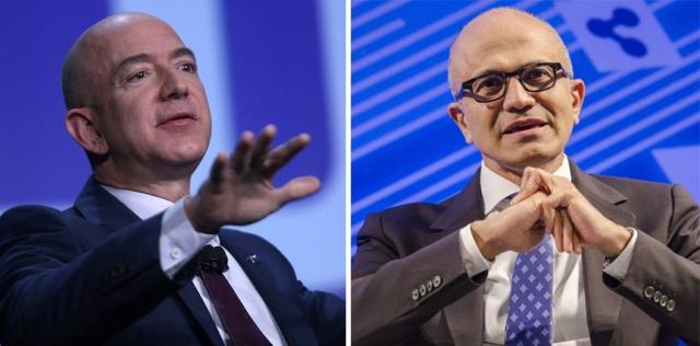 Jeff Bezos and Satya Nadella