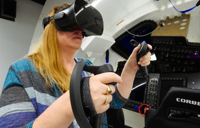 Boeing's Connie Miller with VR headset