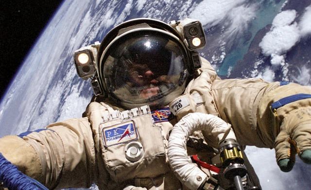 NASA's Mike Fincke in Russian spacesuit
